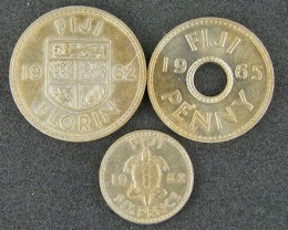 FIJI LOT 3, 1 PENNY 1 FLORIN 1 SIXPENCE 1962-1965 COIN T503