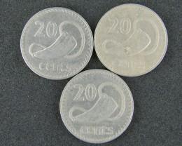 FIJI LOT 3, 1969-1979 20 CENT COINS     T504