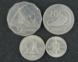 FIJI LOT 4, 20c, 50c, SIXPENCE SHILLING 1965-1982 COINS T505