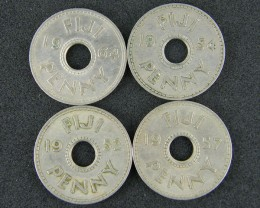FIJI LOT 4, ONE PENNY 1952-1964 COINS T506
