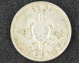 FIJI LOT 1, 1943 SILVER SIXPENCE COIN T515