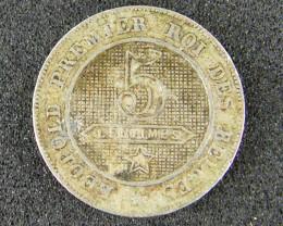 BELIGUM LOT 1 ,FIVE CENTIMES 1862 COIN T526