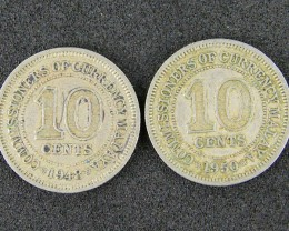 MALAYA LOT 2,  2 X TEN CENT COINS 1948-1950 T539