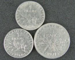 FRANCE LOT 3, 1960-1974 2 x ONE FRANC, FIVE FRANC COINS T545