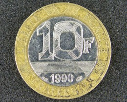 FRANCE LOT 1, 1990 TEN FRANC BI-METALLIC COIN T546