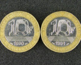 FRANCE LOT 2, 2 X TEN FRANC BI-METALLIC 1990 COIN T551