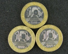 FRANCE LOT 3, 3 X TEN FRANC BI-METALLIC 1990 COINS T552