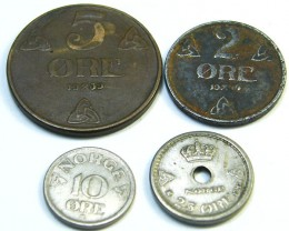 SWEDEN LOT 4,  1939-1956 10, 25, 2, 5 ORE COIN T681