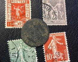 FRANCE LOT 1, 1790 INDEO EST SPES NOSTRA COIN plus stamps  T586
