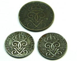 SWEDEN LOT 3, 2XTWO ORE, FIVE ORE 1909-1946 COINS T617