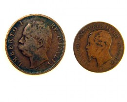 TWO  COINS OF ITALY 1867-1893  OP 263