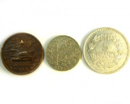 THREE COINS mixed  2 FRANCE N ONE MEXICO    OP 267