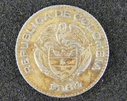 COLOMBIA LOT 1, 1964 DIEZ(TEN) CENTAVOS COIN T637