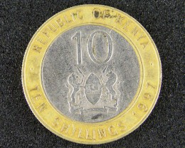 KENYA LOT 1, TEN SHILLING BI-METAL 1997 COIN T643
