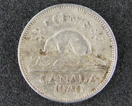 CANADA LOT 1, 1940 FIVE CENT COIN T642