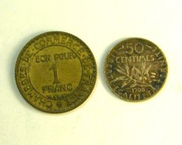 TWO  COINS  FRANCE 1927, 1908   OP 269
