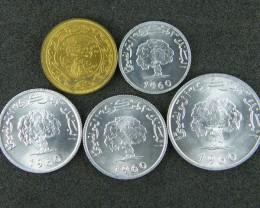 TUNISIA LOT 5, UNC 1,2,5,10 MILLIM COINS T657