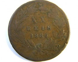 PORTUGAL   COIN     1884  OP 307
