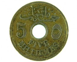 MIDDLE EAST LOT 1, 1916 FIVE MILLIEMES COIN T713