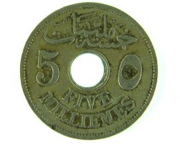MIDDLE EAST LOT 1, 1917 FIVE MILLIEMES COIN T714