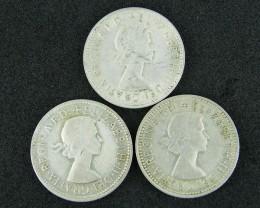 AUSTRALIA LOT 3, 1955-1962  SHILLING COINS 800   SILVER T727