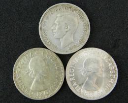 AUSTRALIA LOT 3, 1948-1967 SHILLING COINS  500   SILVER T726