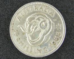 AUSTRALIA LOT 1, 1955 SHILLING COIN 500   SILVER T736