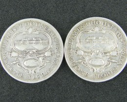 AUSTRALIA LOT2 , 1954 ONE FLORIN COIN   50% SILVER  T743