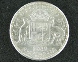 AUSTRALIA LOT 1, 1962 FLORIN COIN  50%  SILVER T750
