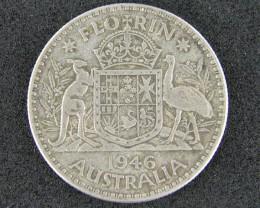 AUSTRALIA LOT 1, 1946 FLORIN COIN  925 SILVER  T751