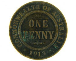 AUSTRALIA LOT 1, ONE PENNY 1913 COIN T766