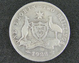 AUSTRALIA LOT 1, ONE FLORIN 1922 COIN   925 SILVER  T772