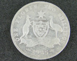 AUSTRALIA LOT 1, ONE FLORIN 1925 COIN  925 SILVER T773