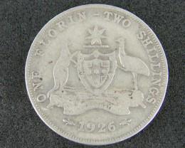 AUSTRALIA LOT 1, FLORIN 1926 COIN  925 SILVER T778