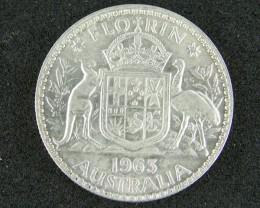 AUSTRALIA LOT 1, FLORIN 1963 COIN   50%  SILVER T782