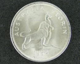 AUSTRALIA LOT 1, FLORIN 1954 COIN 500 SILVER T785
