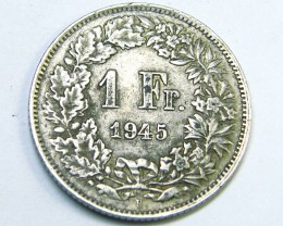 1945 SWITZERLAND , 1 F  .835 silver  COIN T815