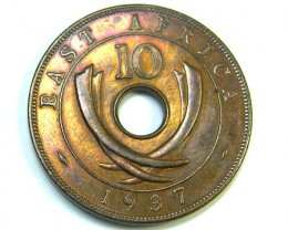 A 1937 BRITISH EAST AFRICA TEN CENTS  ,  COIN T818