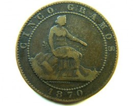 RARE SPAIN  COIN  ONLY PRINTED ONE YEAR 1870  OP 342