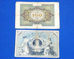 TWO GERMAN NOTES 1908 AND  1920      T 875