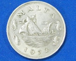 MALTA L 1, 1972 TEN CENT COIN T887