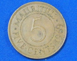 MAURITIUS L1, 1969 FIVE CENT COIN T908