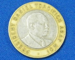 KENYA L1, 1997 BI-METAL TEN  SHILLINGS COIN T911