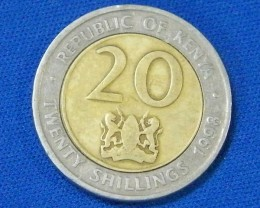 KENYA L1, 1998 BI-METAL TWENTY CENT COIN T912