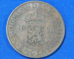 NETHERLAND EAST INDIES L1, 1920 2 1/2 CENT COIN T921