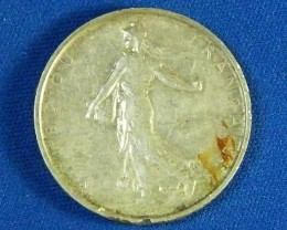FRANCE L1, 1963 FIVE FRANC SILVER .835 COIN T930