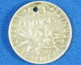 FRANCE L1, 1908 FIFTY CENTIMES COIN T937