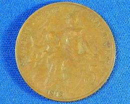 FRANCE L1, 1912 FIVE CENT COIN T938