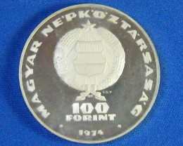 HUNGARY L1, PROOF ONE HUNDRED FORINT 1974 COIN T941