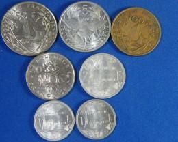 POLYNESIA L7, 20, 100, 5, 1, 2, 50 FRANC COINS T946